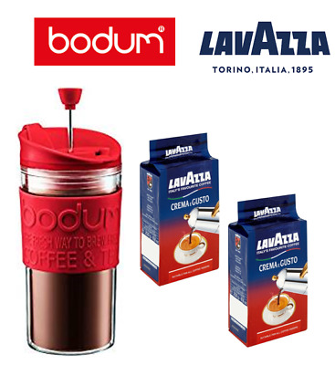 Bodum Travel Press Red For Filter Coffee/Loose or Herbal Tea & Lavazza Offer