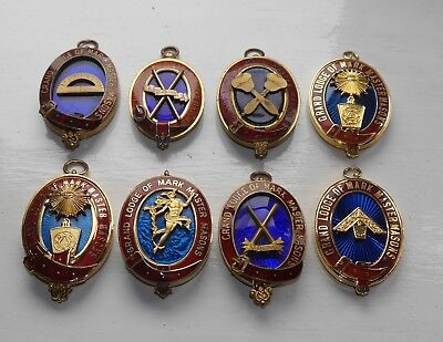 Collection Of 8 Masonic Grand Lodge Of Mark Master Masons Collar Jewels