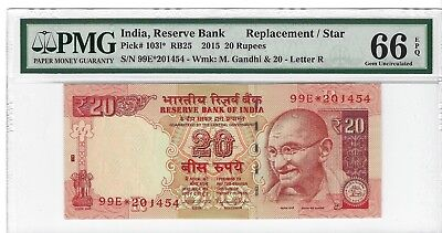 P-103l* 2015 20 Rupees, India Reserve Bank, PMG 66EPQ Replacement/Star