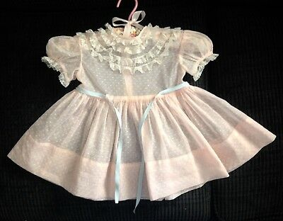 Vintage 1950s Sheer Nylon Toddler Dress - Laced Bodice - Sz 1 Nannette Originals
