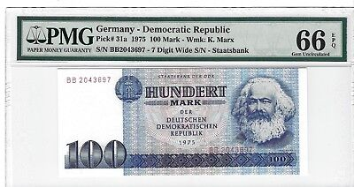 P-31a 1975 100 Mark, Germany, Democratic Republic PMG 66EPQ, Only 2 Higher!