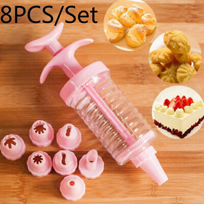 FM- Durable Cookies Press Making Mold with 8 Cake Nozzles Non-toxic Tool Set Can