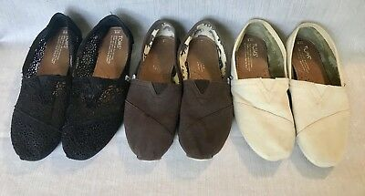 EUC lot of 3 women's TOMS CLASSIC Canvas Brown Black slip on shoes - size 8