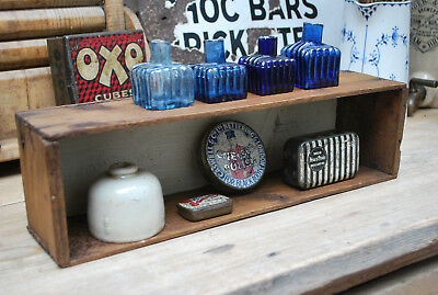 cute little vintage rustic pine box collectors pigeon hole display shelf