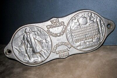 Unique 1893 World's Columbian Exposition Medal Plaque from a BORN STEEL RANGE
