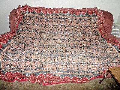Vintage Indian Cotton  Bedspread/ Throw     94 Ins  L X 68 Ins W