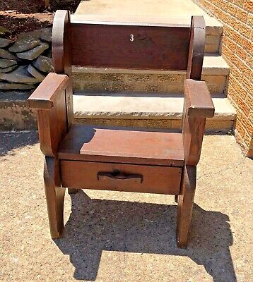 Theater Stadium Church Wooden Seat Chair w/ Drawer Antique Numbered