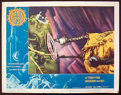 BATTLE BEYOND THE SUN original 1962 lobby card #6 two monsters