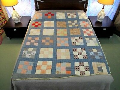 RUSTIC Vintage Antique NINE PATCH Quilt w/ Printed Feed Sack Backing, TWIN