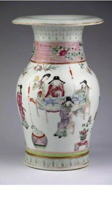 19th Chinese Antique Famille Figures Rose Porcelain Vase