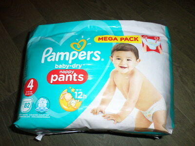 PAMPERS BABY DRY COUCHES CULOTTE X82 TAILLE 4 (4 a 15KG)