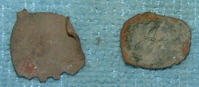 LOT OF 2  BYZANTINE BRONZE SHAPE CUP COINS 13th CENTURY AD Ref.96