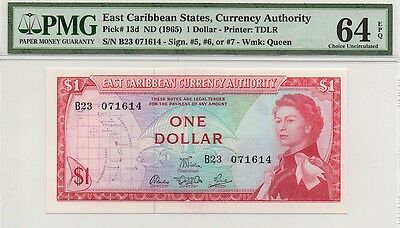 EAST CARIBBEAN STATES ND (1965) $1 ONE DOLLAR NOTE, P13d, PMG 64 EPQ