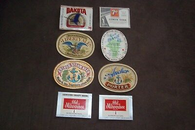 Collection Of (8) Diff Brewery Beer Labels Anchor/dakota/ 7Up Lithiated Soda