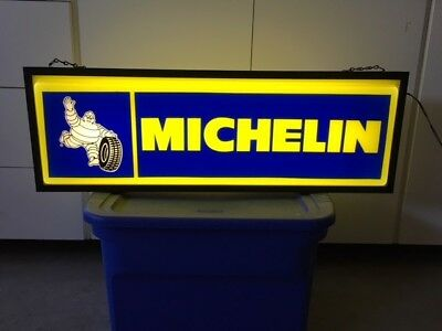 Michelin tire sign double sided, hanging, lighted, working, excellent shape