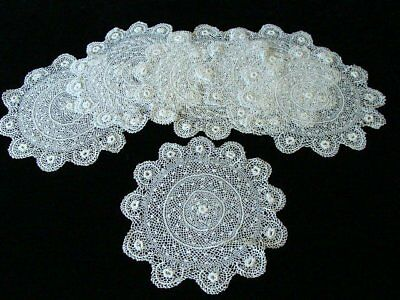"""PRISTINE Vintage Irish Crochet Lace Placemats Lg Doilies 10 """" Expertly HAND MADE"""