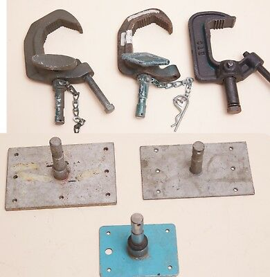 "3x ""Baby"" Pipe Grid CLAMP  5/8"" Pin & 3x Square Baby Plates pigeons lot of (6)"