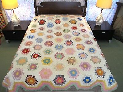 "AMAZING Vintage 77 Different Feed Sacks Hand Sewn FLOWER GARDEN Quilt; 86"" x 77"""