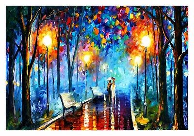 STUNNING COUPLE IN THE PARK OIL PAINTING PICTURE CANVAS WALL ART LARGE 20x30""