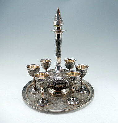 Fine Persian Isfahan Silver  6 Persons Drinks Set 1181 Gr.