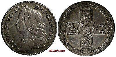 Great Britain George II (1727-1760) Silver 1757 6 Pence SCARCE S-3711;KM# 582.2