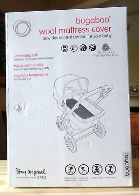 Bugaboo Wool Mattress Cover, Grey Melange NEW IN BOX, Natural Comfort For Baby
