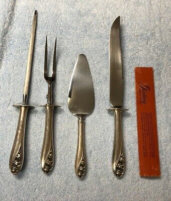 Gorham Sterling Silver Lily of The Valley Carving Set, Sharpener and Cake Knife