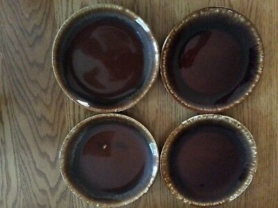 Vintage McCoy Glazed Brown Drip Salad Plates Set of 4