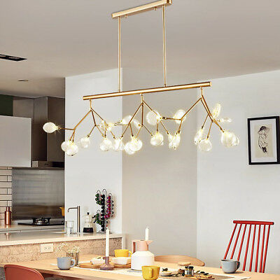Modern Deluxe Style Clear Glass Shade Tree Branch Large Linear Pendant Light