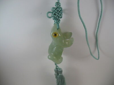 Jade Pendant Necklace on  Green Cord with Tassels Carved Frog Asian Design  JP7