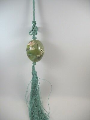 Jade Pendant Necklace on  Green Cord with Tassels Monet Egg Painted Design  JP3