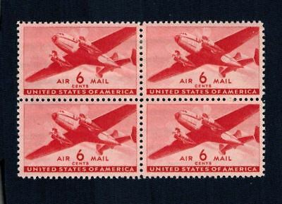 6¢ US Air Mail Stamps Twin Motored Transport Block of 4 MNH  Scott C25