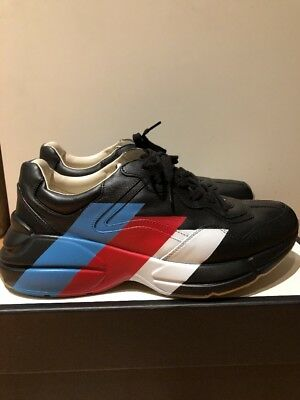 befd98b9a MEN GUCCI RHYTON LEATHER SNEAKERS Apollo Nero Black WORE ONCE Sold Out 10.5  US