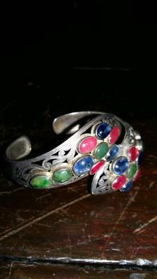 Old Bracelet Silver Beads Flower Antique Collectible Coin Drilled Ingot
