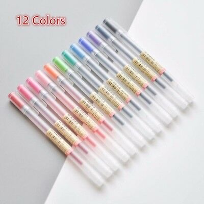 12 Pcs/lot Gel MUJI Ink Pen Ballpoint 0.5mm Colour School Office Supply Japan