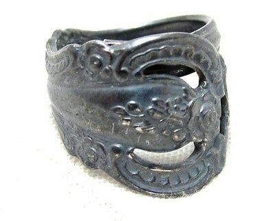 """Old Silver Toned Oneida Community Tarnished Vintage Spoon Ring*Size 4-3/4""""*S389"""