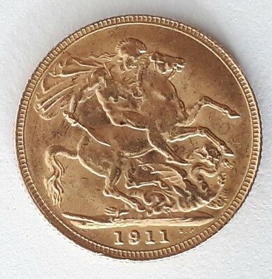 1911 Great Britain One Sovereign Gold ( .916 ) coin George V