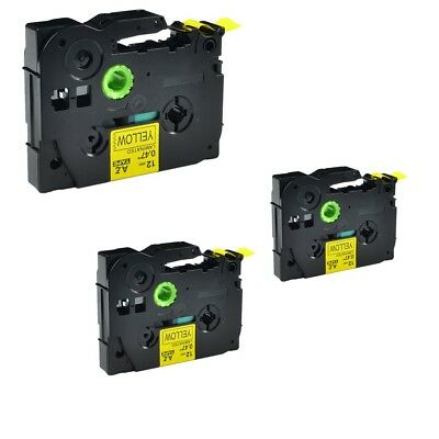 3PK TZ 631 TZe-631 Black on Yellow Label Tape For Brother P-Touch PT-520 12mmx8m