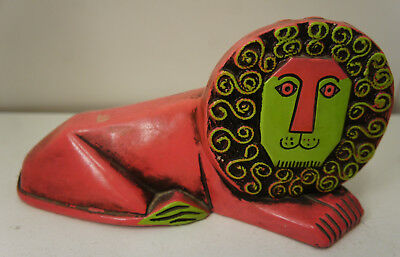 Vintage Pride Creations Japan 1960s MCM Paper Mache Lion Figure Bank hand painte