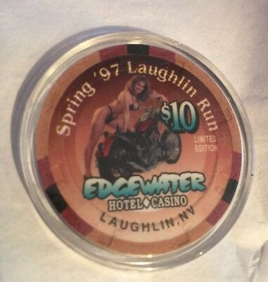 Spring '97 Laughlin Run Edgewater Casino Limited Edition $10 Chip in Case