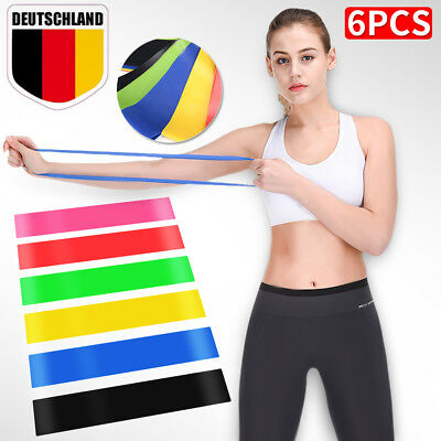 6X Pilates Fitness Yoga Latex Gym Gummiband Resistance Widerstand Band Expander
