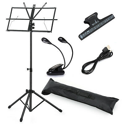 Black Metal Folding Music Stand Adjustable Tripod Sheet Mount with Carrying Bag