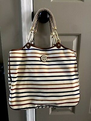 45bdca130ec0 Tory Burch Channing Striped canvas and leather tote - Beige   multi color  stripe