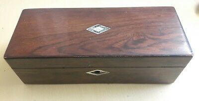 Antique Victorian Mahogany Wood Box Hinged Lid Sewing Jewellery Wooden