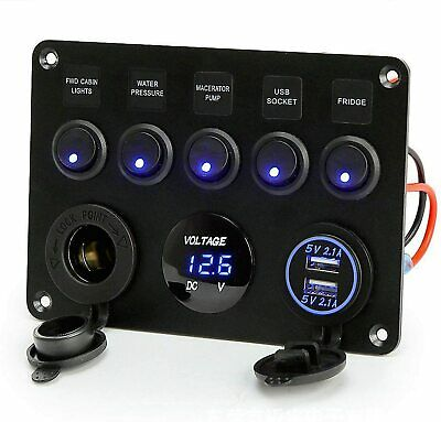 5 Gang ON-OFF Toggle Switch Panel 2 USB 12V Fit Car Boat Marine RV Truck Camper