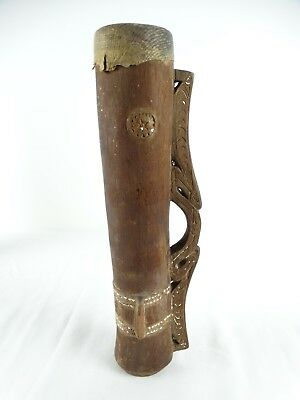 Vintage Papua New Guinea Tribal Drum with Traditional Tampanon Sepik River PNG