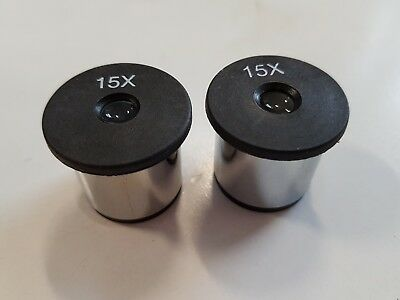 Pair Of 15x Eyepieces For Microscope New & Unused