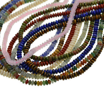 """Wholesale Natural Gemstone Saucer Spacer Loose Beads 2x4mm DIY Jewelry 15"""""""