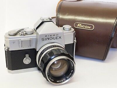 Ricoh Singlex 35mm SLR Camera & Rikenon 55mm F1.4 Nikon Mount Lens. St No u8809