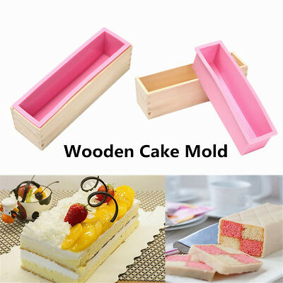 Wood Loaf Soap Mould+Silicone Mold Cake Making Wooden Box Cookie DIY Safety